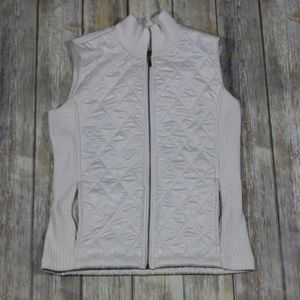 Prana Quilted Puffer Vest Ribbed Sides Collar
